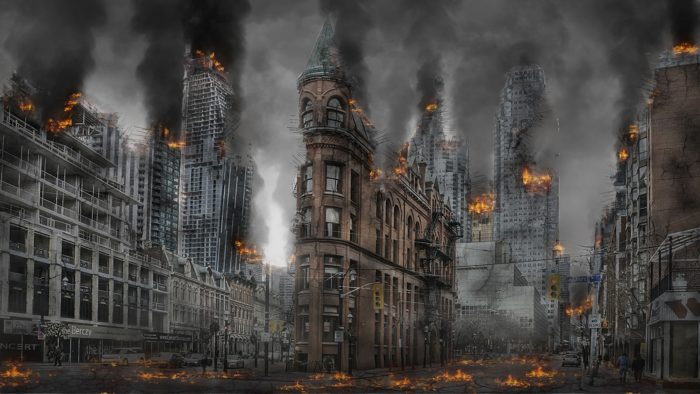 A picture of a ruined burning city