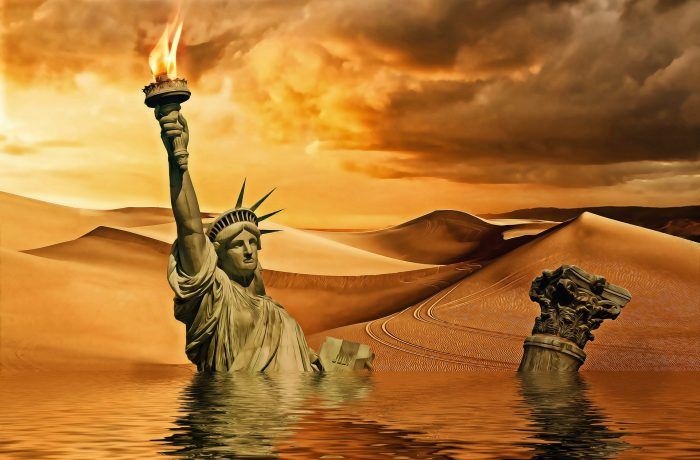 The Statue of Liberty floating in water in a distant future