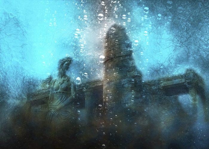 Depiction of underwater ruins