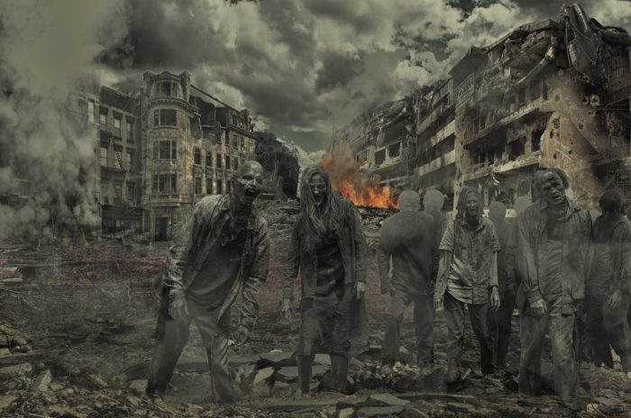 A picture of The walking dead in a burnt out city