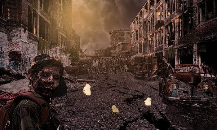 Depiction of zombie outbreak on ruined street