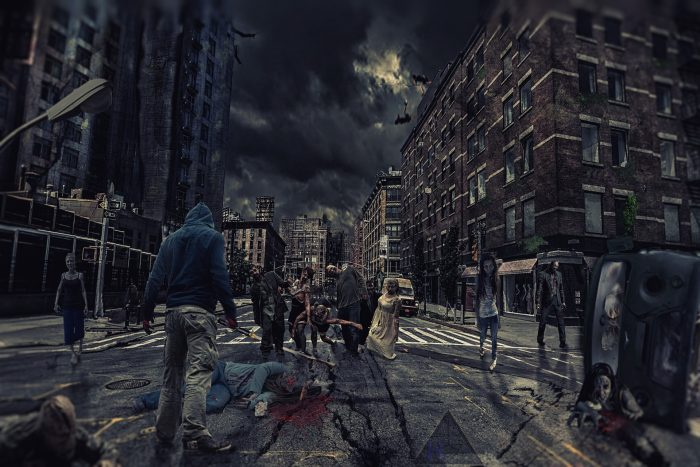 Depiction of zombies roaming the city