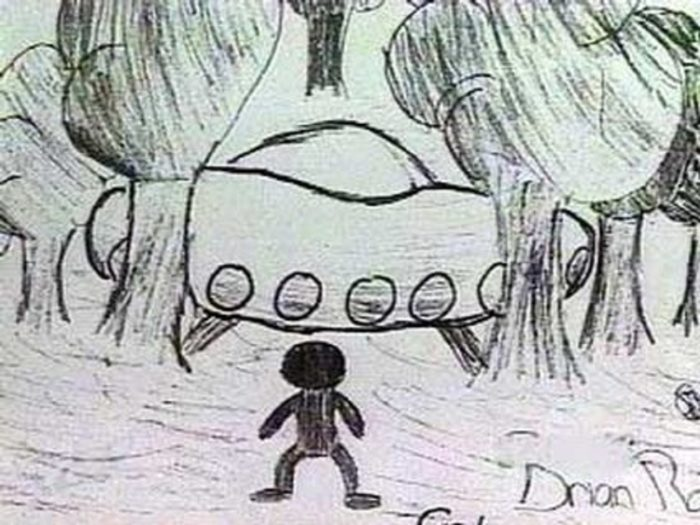 One of the children's sketches of the UFO