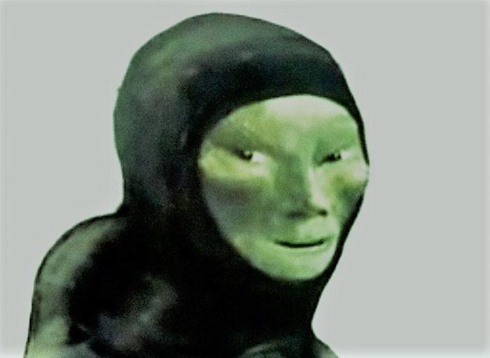 Artist's impression of the strange green skinned entity