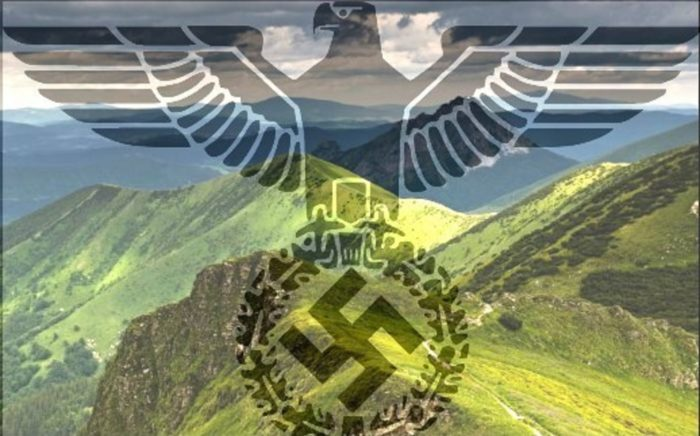 The Beskidy Mountains with a Nazi logo superimposed over the top