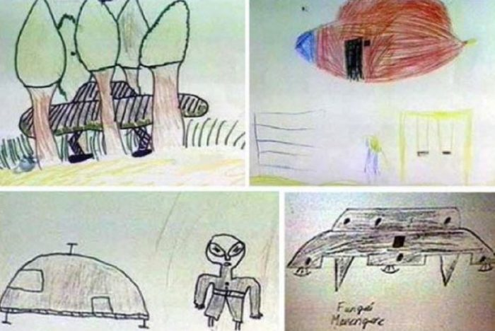 Some of the drawings from the children after the encounter