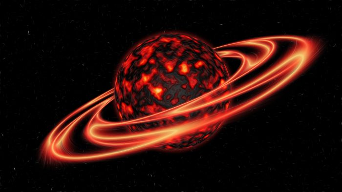 A picture of a red hot planet with glowing red rings