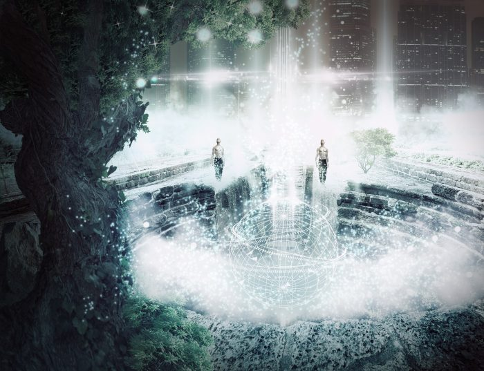 A futuristic image with people floating out of a portal