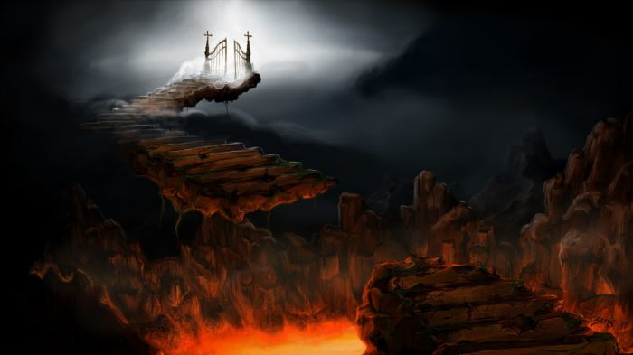 A broken bridge with Hell on one side and Heaven on the other