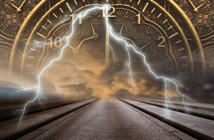 A depiction of a rail track with a clock and lightning superimposed over the top