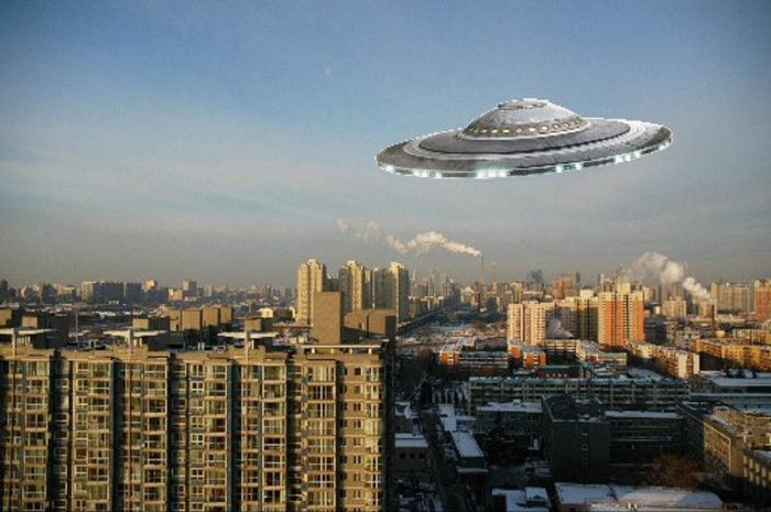 A superimposed UFO in a Beijing skyline