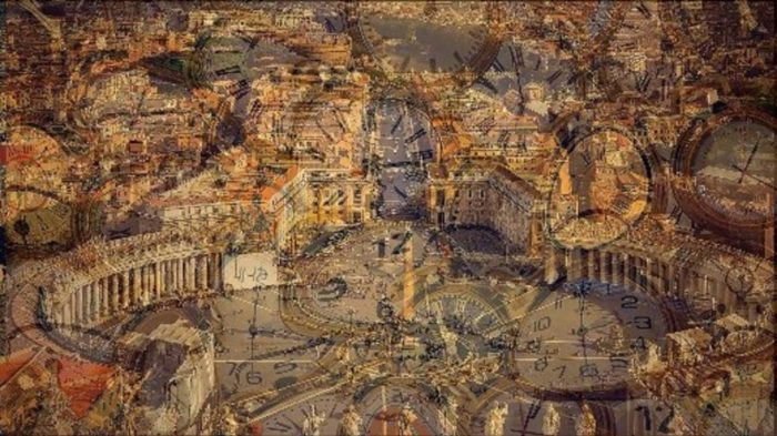 Picture of the Vatican with a superimposed picture of melted clocks over the top