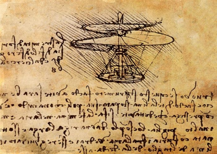 A design for a helicopter in Da Vinci's notes