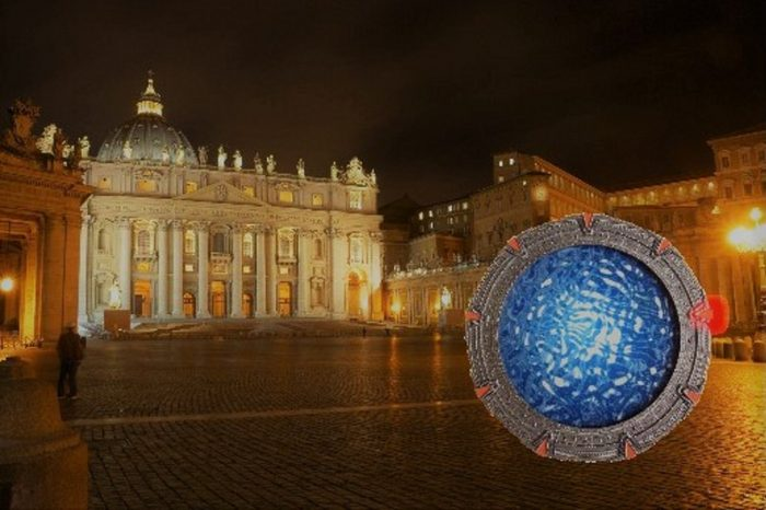A superimposed portal on a picture of the Vatican