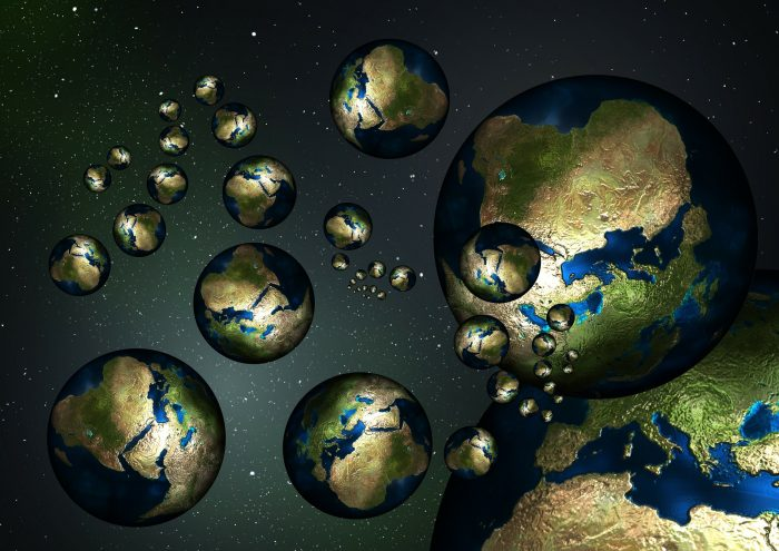 An image of multiple Earths in space