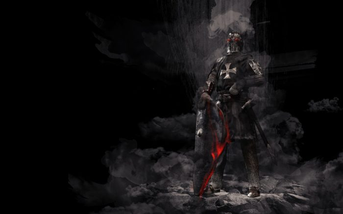 A dramatic depiction of a Knights Templar against a black background