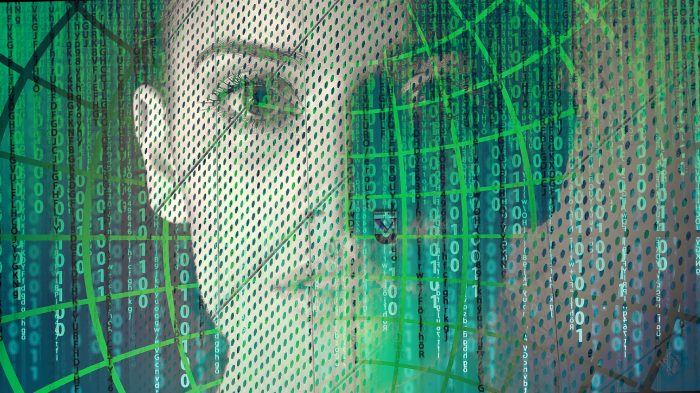 A picture of a woman looking out of a digital computer screen