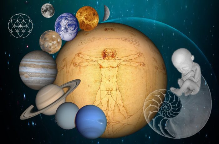 A image of the planets revolving around a sphere containing the notes of Da Vinci