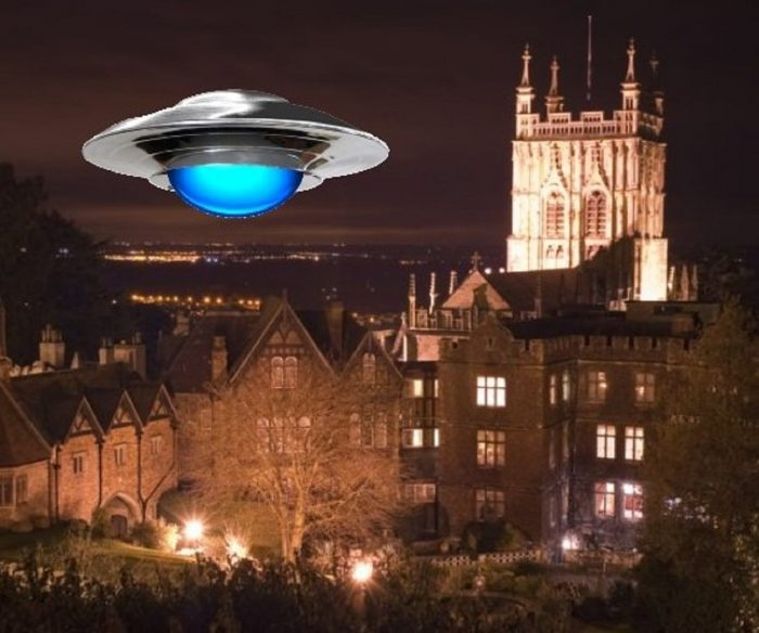 A depiction of a UFO over Berkshire