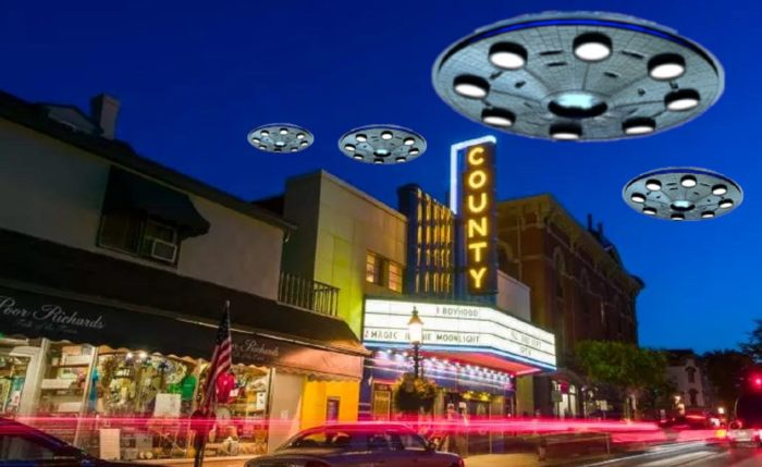 A depiction of a UFO over Buck County