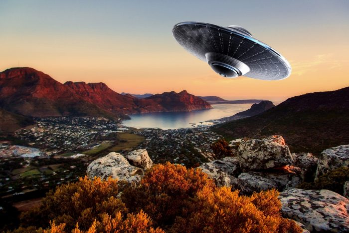 A depiction of a UFO traveling over South Africa