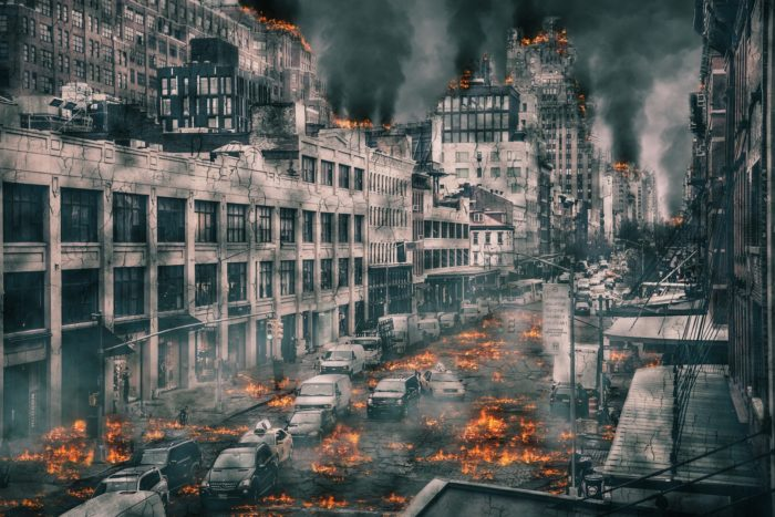 A depiction of a burnt-out apocalyptic city