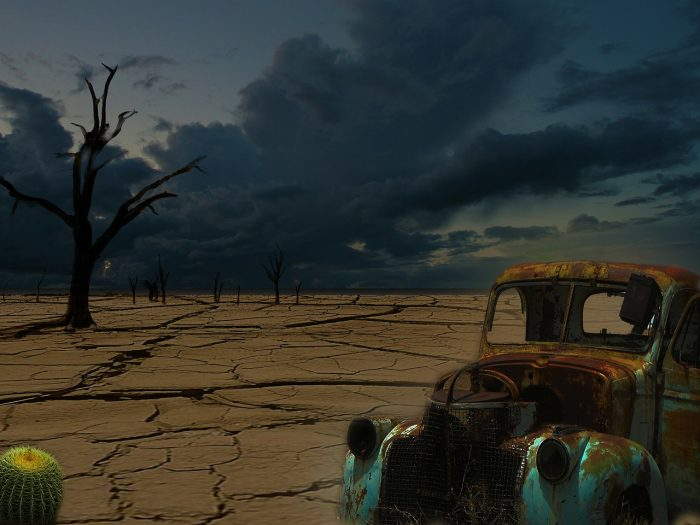 A depiction of a post apocalyptic world