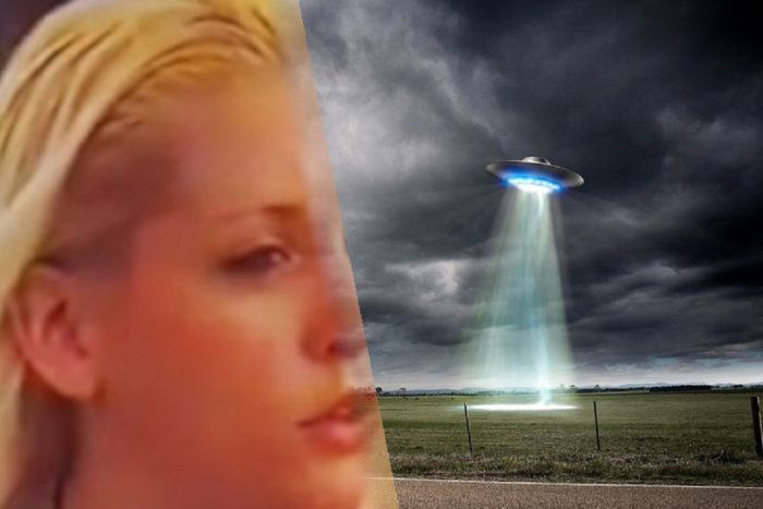 Amy Rylance blended into a depiction of a UFO in a dark sky