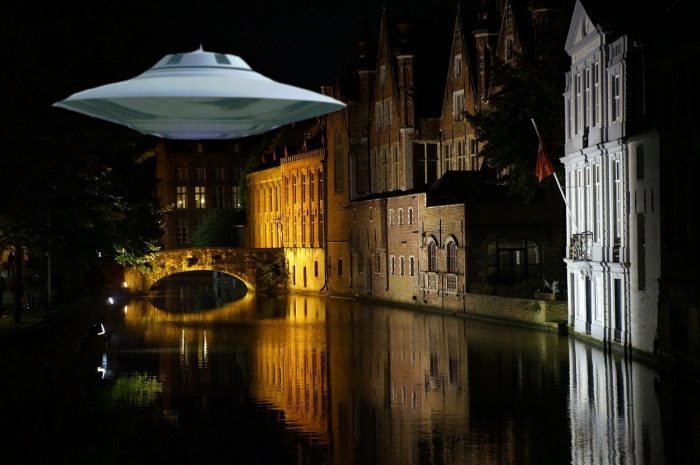 A superimposed UFO over a Belgian river