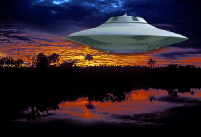 A depiction of a UFO over the Everglades