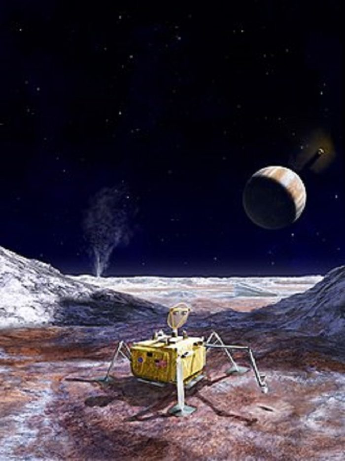 Artist's impression of a lander robot on Europa