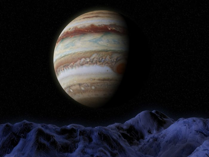 Artist's impression of Jupiter from Europa