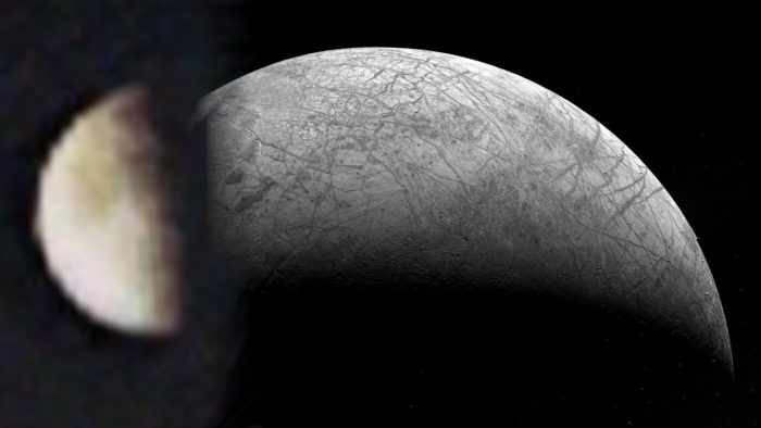 A picture of the first image of Europa blended with a more recent and clearer image