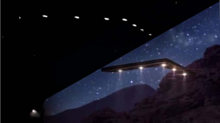 Depiction of the Phoenix Lights compared to a real picture