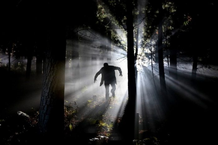 A picture of a strange man running through a dark forest