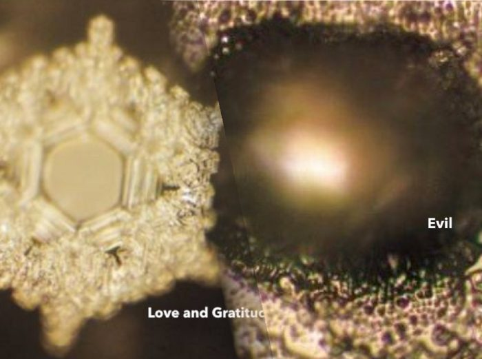 An image showing the apparent differences between a positive and negative water crystal