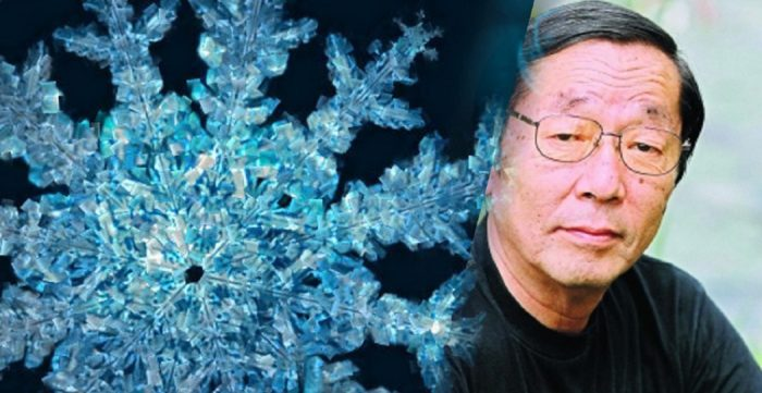 Dr. Masaru Emoto blended into an image of water crystal