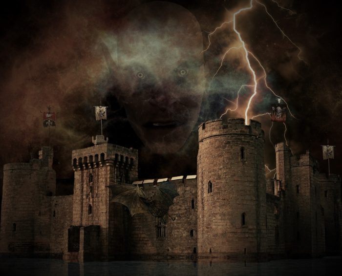 A picture of an old castle with a vampire face superimposed over the top