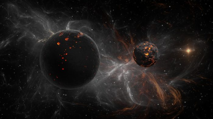 A depiction of exoplanets in deep space