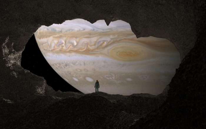 Artist's impression of looking at Jupiter from Europa