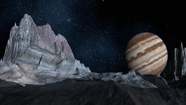 Artists impression of Jupiter from Europa