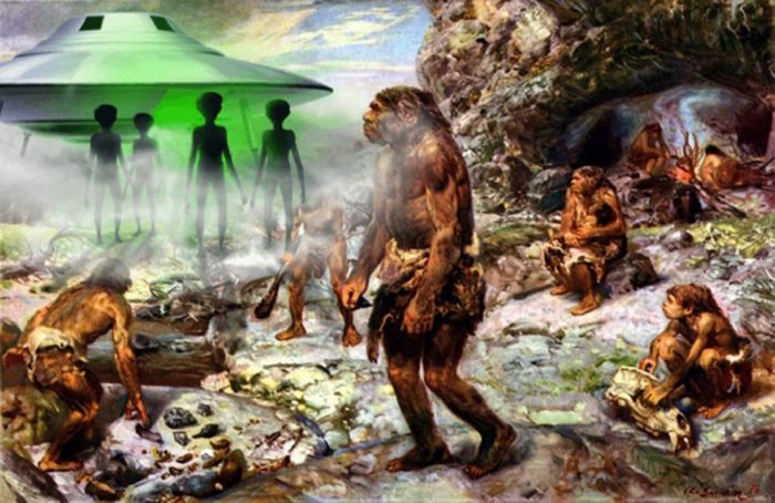 An ancient scene with a superimposed UFO and aliens over the top