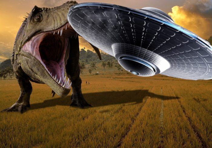 A superimposed UFO over a picture of a dinosaur