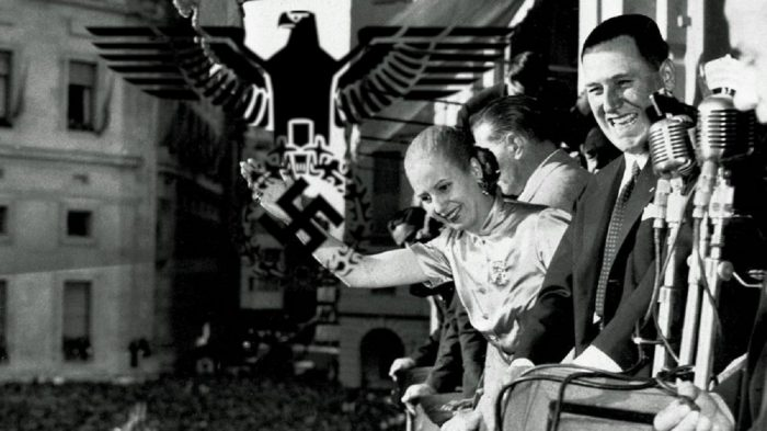 A picture of Eva Peron with a Nazi emblem over the top