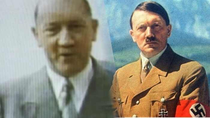 """A picture of an alleged """"old"""" Hitler blended into a picture of Hitler in 1940s"""