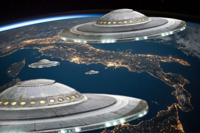 A depiction of UFOs hovering over Italy