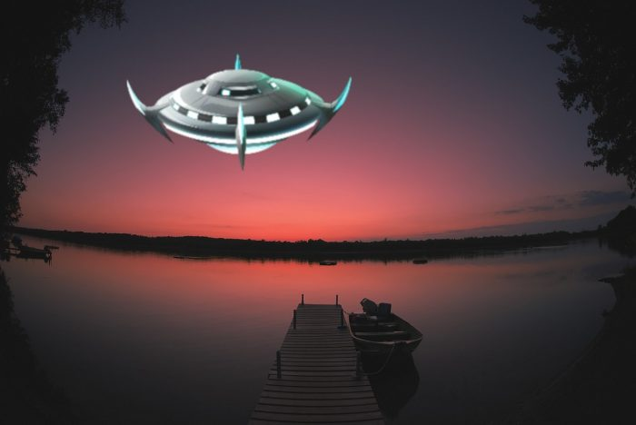 A depiction of a UFO over a Minnesota Boat Dock