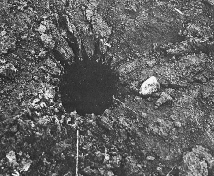An example of the crater left by the UFO