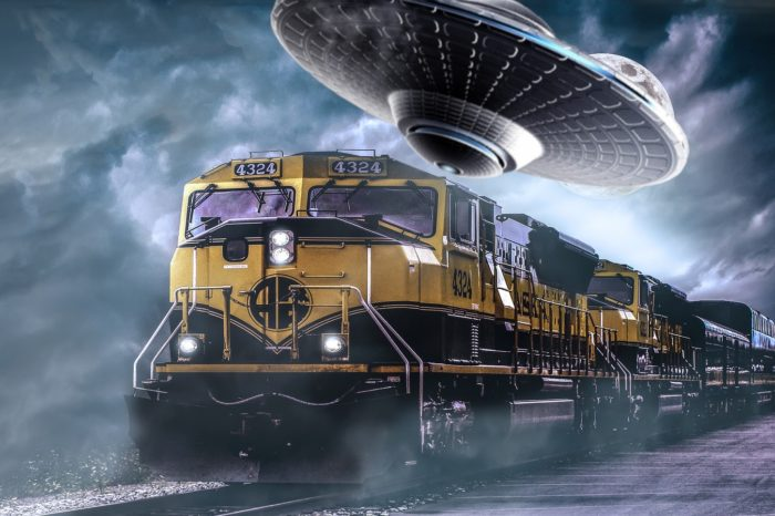 A depiction of a UFO over the Monon railroad
