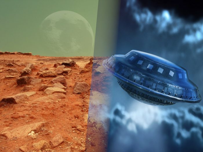 A blending of the Martian surface and a depiction of a UFO
